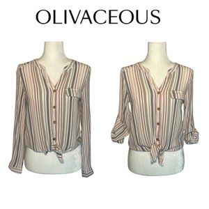 Olivaceous Tan Long Sleeve Striped Tie Blouse
